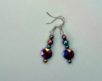 Rainbow haematite earrings