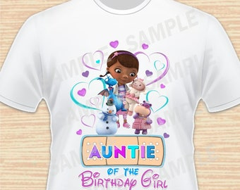 Auntie of the Birthday Girl. Doc McStuffins Digital File. Personalized Family Shirts, Birthday Party. Iron on Transfer. Printable 3. Instant