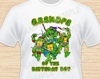 Teenage Mutant Ninja Turtles Iron On Transfer. TMNT Grandpa of the Birthday Boy Iron On. Ninja Turtles Birthday Shirt. Download Printable 1