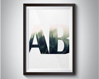 AB letters Minimalist Forest White Background Printable Art