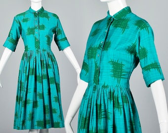 Medium 1950s Simple Vintage Dress Cotton Day Dress Fit and Flare Teal Print Vintage 50s Dress Shirtwaist Casual Comfortable Summer Dress