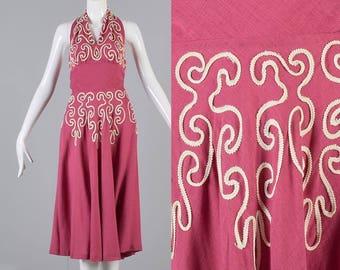 XS 1940s Dress Linen Dress Backless Summer Dress 1940s Day Dress Pink Halter Dress Soutache Trim Sun Dress