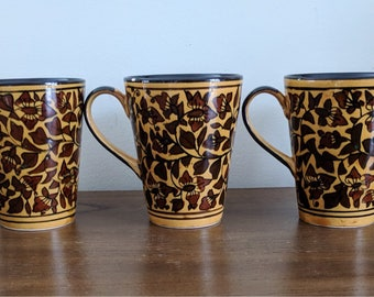 Vintage set of 5  floral mugs | Vintage Retro Coffee Mugs | Floral Vine Mugs | Mustard and Brown | Autumn