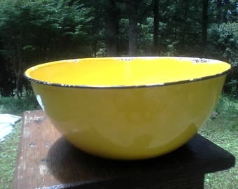 Yellow enamel ware enamelware bowl vintage kitchen decor lemon yellow shabby chic