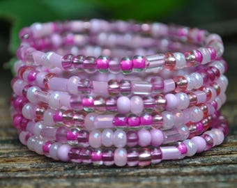 Girls Pink Wrap Bracelet, Breast Cancer Awareness, Wrap Bracelet for Girls, Wrap Bracelet for Girls, Light Pink, Stackable and Beaded