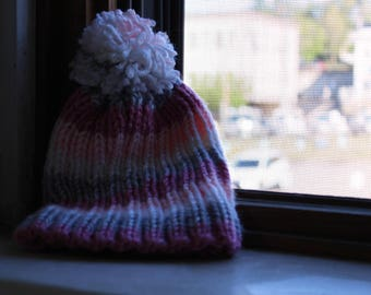 Handmade Pink and White Beanie