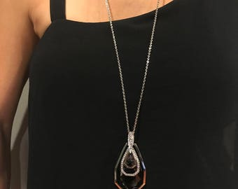 Tear Drop Triple Stack Sparkly Black Crystal Long Sweater Chain Pendant Necklace