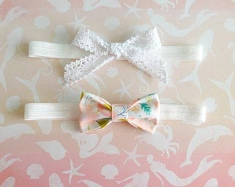 Pair cotton and lace headbands
