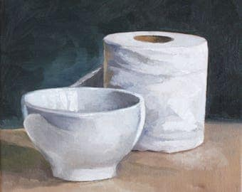 White bowl and paper still life