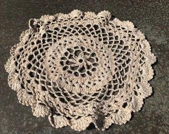 Vintage Crochet Circle Doily- light brown