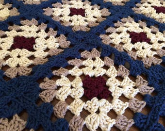 Crocheted Baby Throw Blanket - Red/Cream/Blue - Handmade