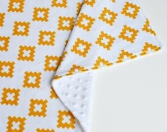 Baby Girl Lovey Blanket | Minky Gold Aztec Lovie | Toddler Security Blanket | Modern Baby Blanket | Mini Snuggle Blanket | Girl Shower Gift