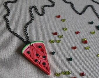 Watermelon Necklace, Watermelon Pendant, Watermelon Jewelry, Quilling Art, Paper Art,Fruit Necklace,Food Jewelry,Quilled Jewelry,Fun Jewelry