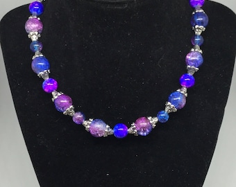 Galaxy bead necklace with matching bracelet