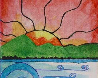 Rising sun (Acrylic painting)