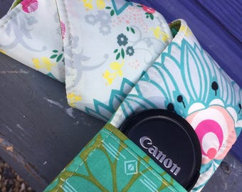 Camera Strap Cover with Lens Pocket Ready to Ship Canon Nikon DSLR Photographer Photography #114 Flowers Floral Green Blue