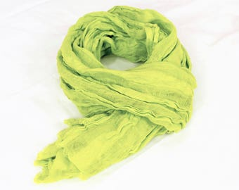 Linen women scarf Linen clothing long scarf Flax linen Gift for her Women Mom For her Green scarf
