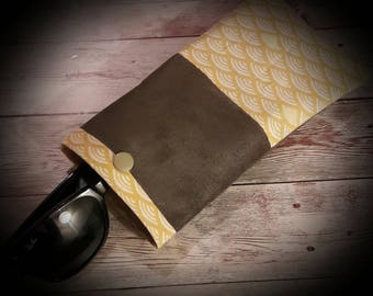 Suede case chocolate and yellow cotton.