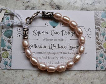 Little Girl's Peachy Pink Pearl Bracelet