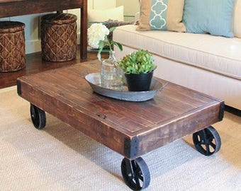 Farmhouse / Industrial Rolling Factory Cart Coffee Table