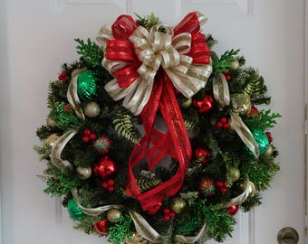 Christmas Wreath | Festive Wreath | Red, Gold, and Green
