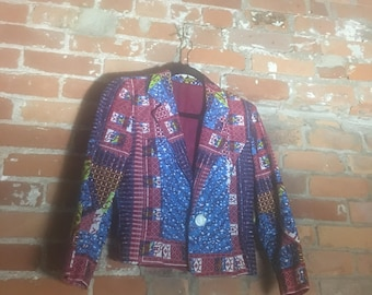 Red and Blue African Print Blazer