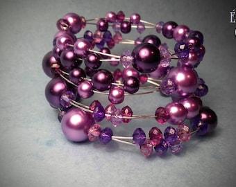 Multifarious Colors Bracelet, Pearl Bracelet, Memory Wire Bracelet