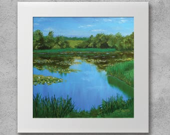 Summer River with Water Lilies - Original oil painting