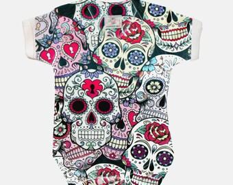 Sugar Skulls design baby onesie with diamond pattern back Gothic HALLOWEEN