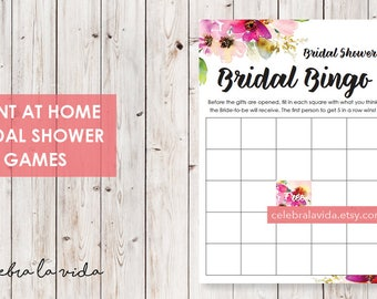 Bridal Bingo Bridal Shower Game. Instant Download. Printable Bridal Shower Game. Pink Flowers. Pink - 01