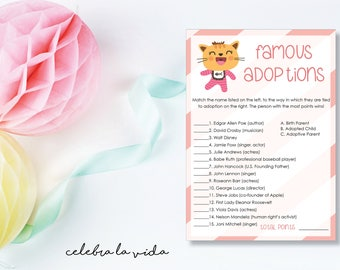 Famous Adoptions. Adoption Baby Shower Game. Instant Download. Printable Baby Shower Baby Girl Game. Pink