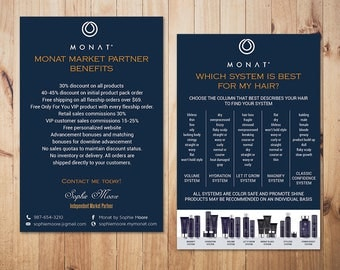 PERSONALIZED Monat Market Partner Benefits, Monat Systems, Custom Monat Hair Care Card, Fast Free Personalization, Monat Business Cards MN01