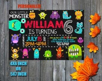 Little Monster Invitation / Little Monster Birthday Invitation / Little Monster / Little Monster Birthday / Little Monster Party / SL
