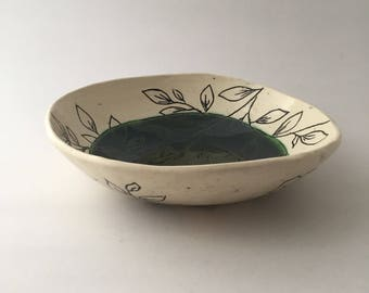 Beautiful Hand Built Floral Pottery Bowl