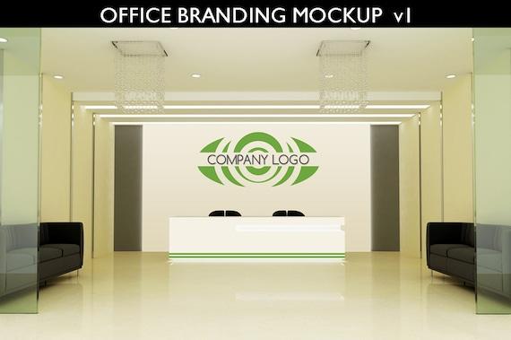 Office Branding Mockup Interior Reception Logo