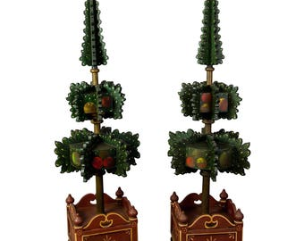 pair of painted wood hall trees, germany 1909
