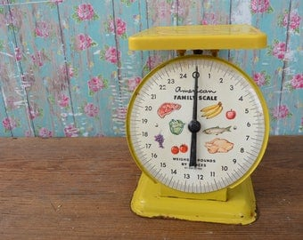 Vintage American Family Scale Yellow Scale Kitchen Scale Household Scale 25lb food graphics