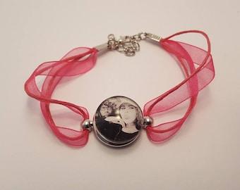 Fuchsia snap, custom photo bracelet, cabochon