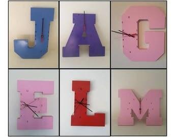 Wooden Letter Clock   Kids Clock   Wall clock   Nursery Clock