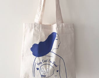 "Screen Printed Tote Bag ""Hey Cool I'am Dead ""(White)"