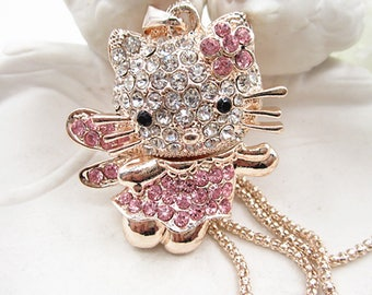 Sweet Crystal Pink Kitty Angel with Wings Pendant
