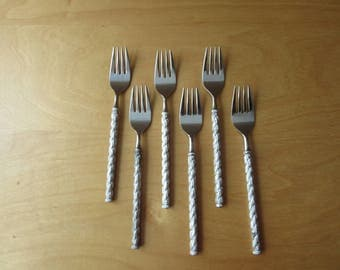 6 Stainless Dinner Forks of STRAITA by STANLEY ROBERTS. Vintage Flatware Made in Japan
