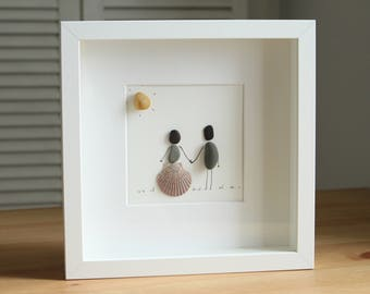 Married Couple Pebble Art - Wedding Gifts - Gifts for her - Gifts for him - Bride & Groom - Gifts for couple - Home decor - Wall Art
