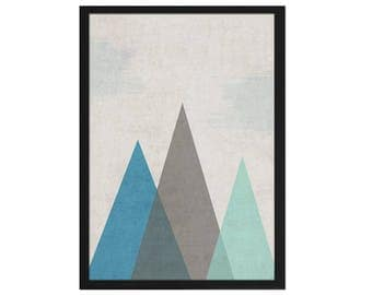 A4 print / / geometric mountains / / poem cottage
