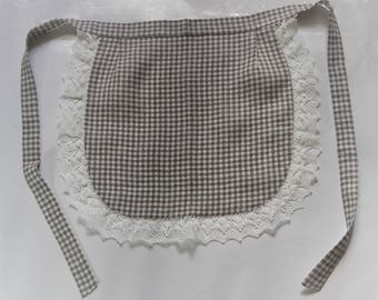 Linen Half Apron - Cafe Apron - Linen Apron - Checkered apron with white lace