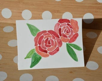 Watercolour rose blank card