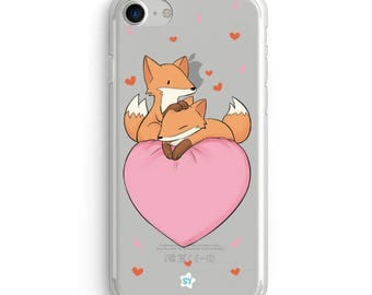 Cute Clear Case for Iphone and Samsung -Foxes love