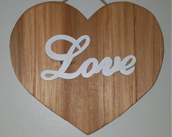 Wooden Heart Sign (Customizable)