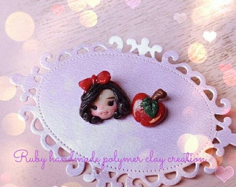 snow white polymer clay earring