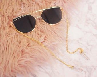 Black Cat Eye Sunglasses with Clear Quartz